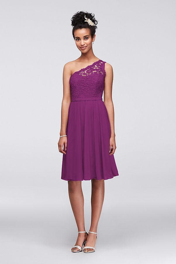 One shoulder lace and mesh dress. Illusion one shoulder corded lace ...