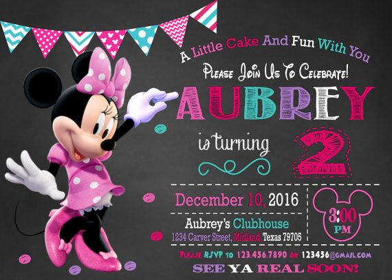 Minnie Mouse Invitation, Minnie Mouse Party Invitation, Minnie Mouse, 2nd birthday, free thank you card, Minnie Mouse Birthday Invitation