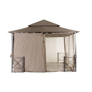 Sunjoy Archwood 12 Ft X 10 Ft Cedar Frame Gazebo With Double Tier Steel Roof Hardtop A102007500 The Home Depot In 2020 Privacy Wall Outdoor Gazebo Hampton Bay