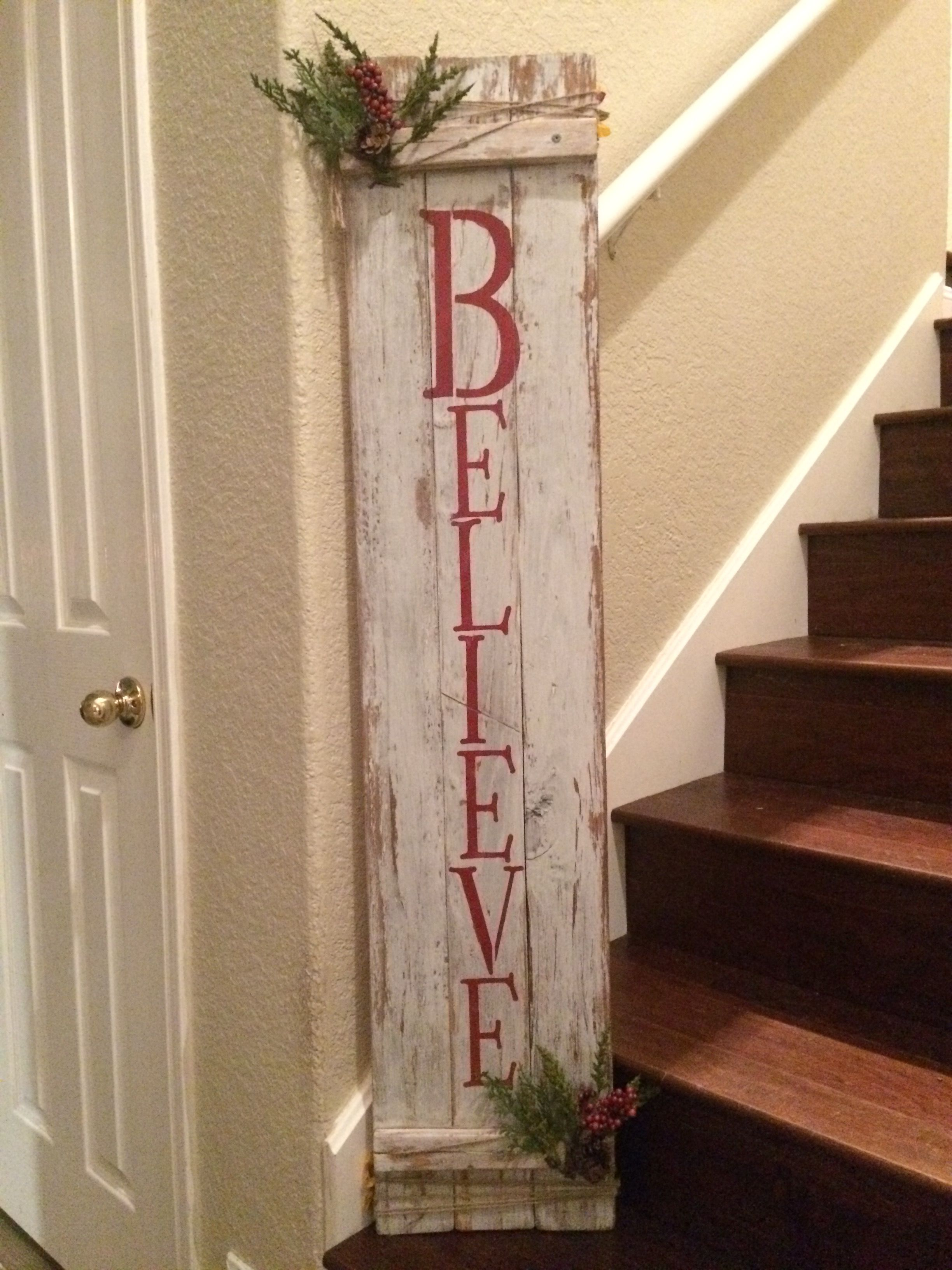 Rustic Double Sided Fall Christmas Pallet Sign Wooden