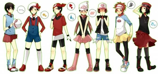 male pokémon protagonists in the female protags outfits pokémon