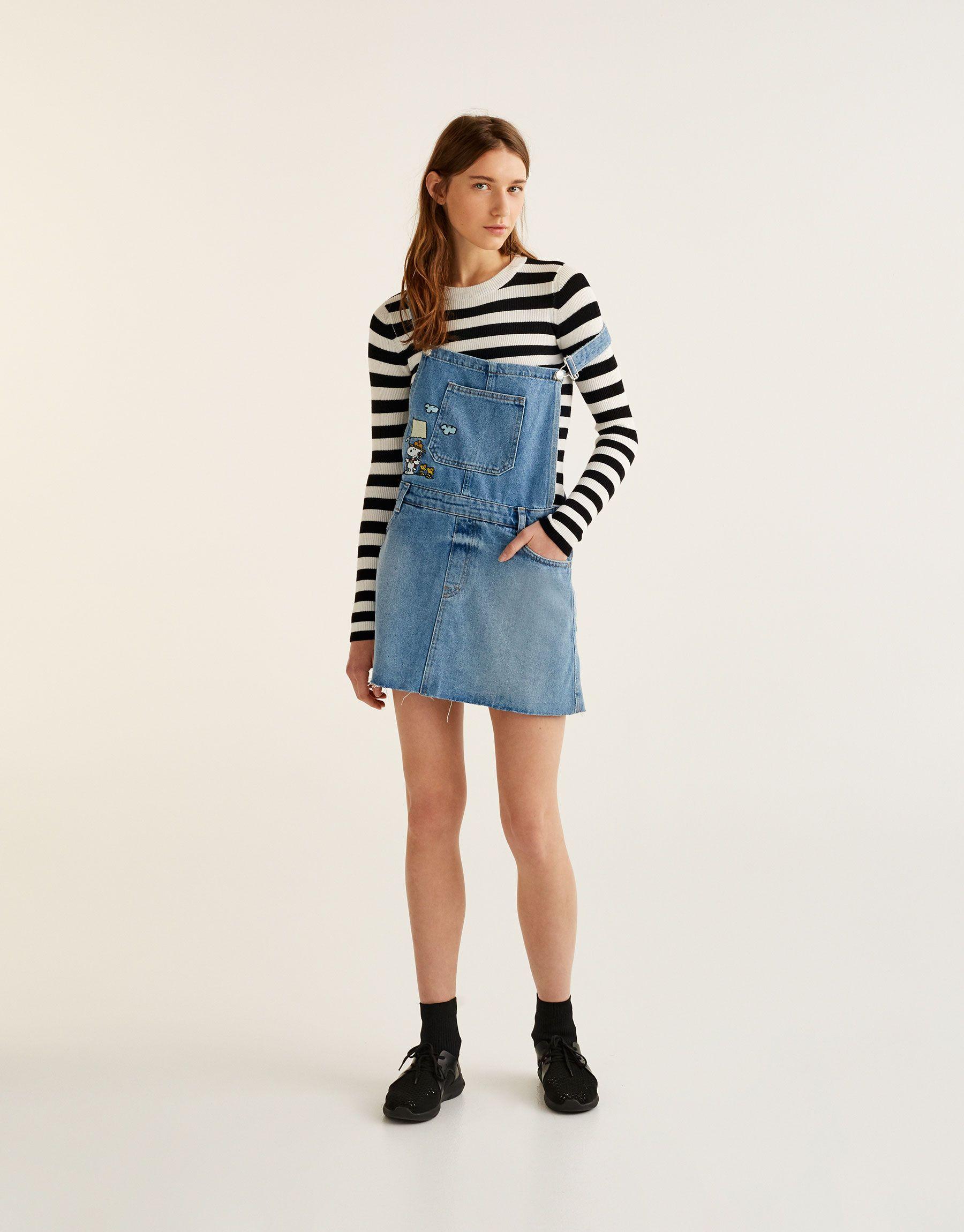 Pinafore Pull Clothing Amp;bear Woman Dresses Dress Denim Snoopy fgvYy76b