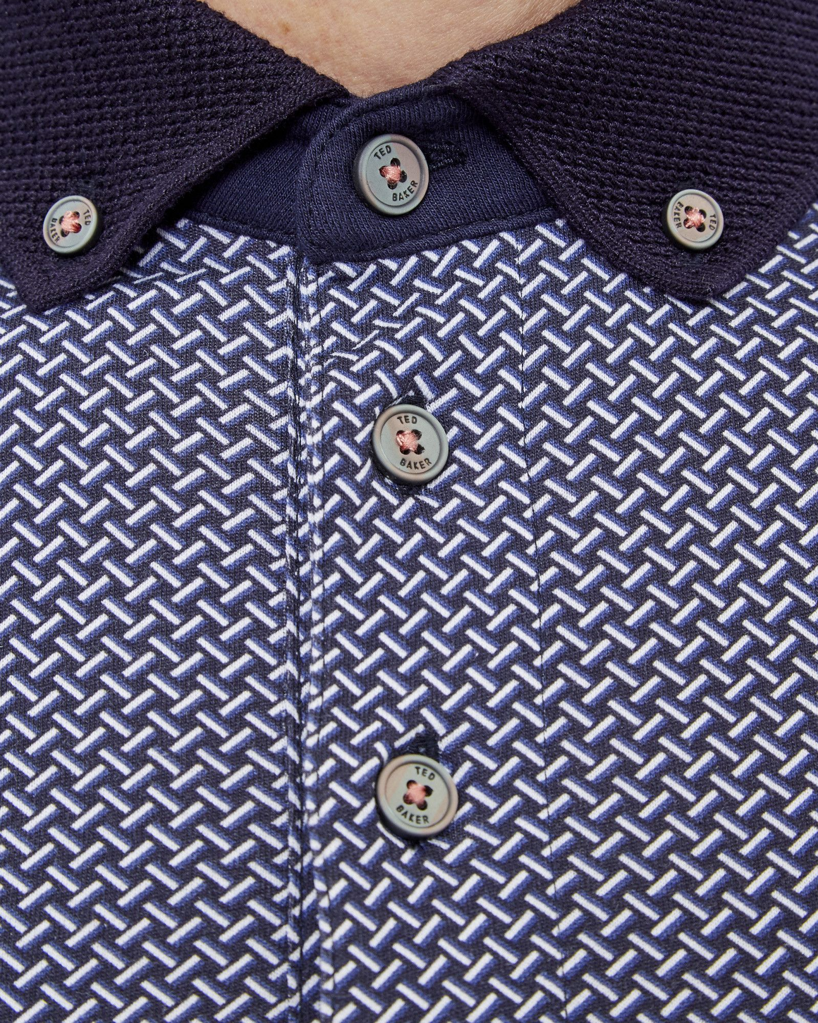 Rectangle geo print cotton polo shirt - Navy | Tops & T-shirts | Ted