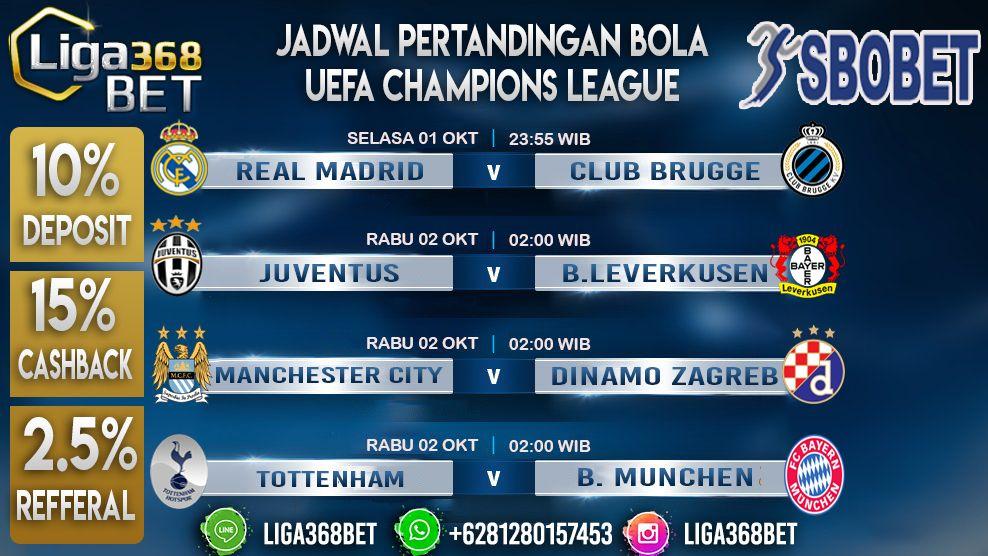 Big Match Liga Champions Uefa Champions League 01 Oct 23 55 Real Madrid Vs Club Brugge 0 1 3 4 02 Oct 02 00 Juventus Vs B Leverkusen 0 1 02 Oct 02 00 Manc