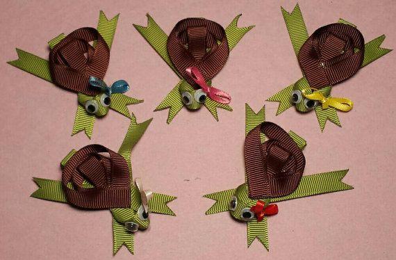 Turtle hair clips hair bow