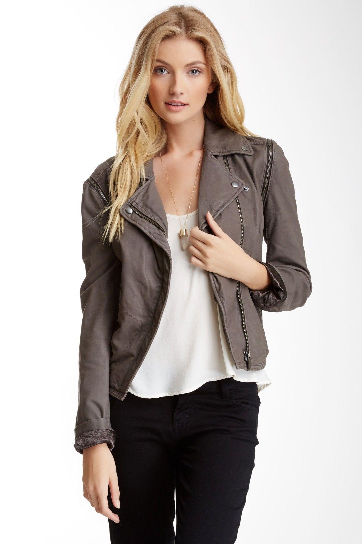 John & Jenn Franklin Leather Jacket/Vest Grey leather