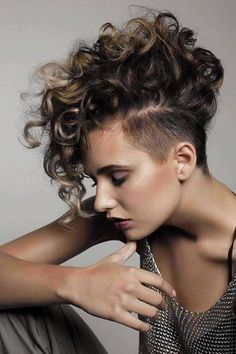 Undercut Pixie Curly Google Search Half Shaved Hair Short Curly Hairstyles For Women Curly Mohawk Hairstyles