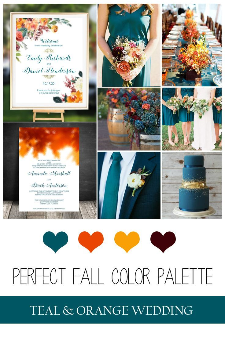 Fall Autumn Wedding Invitation Set, Fall Leaves, Watercolor Botanicals, Orange Fall Wedding Invitati
