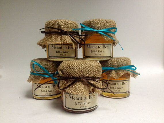 4 Oz Round Glass Honey Jar With Burlap And Custom Label Wedding Favor