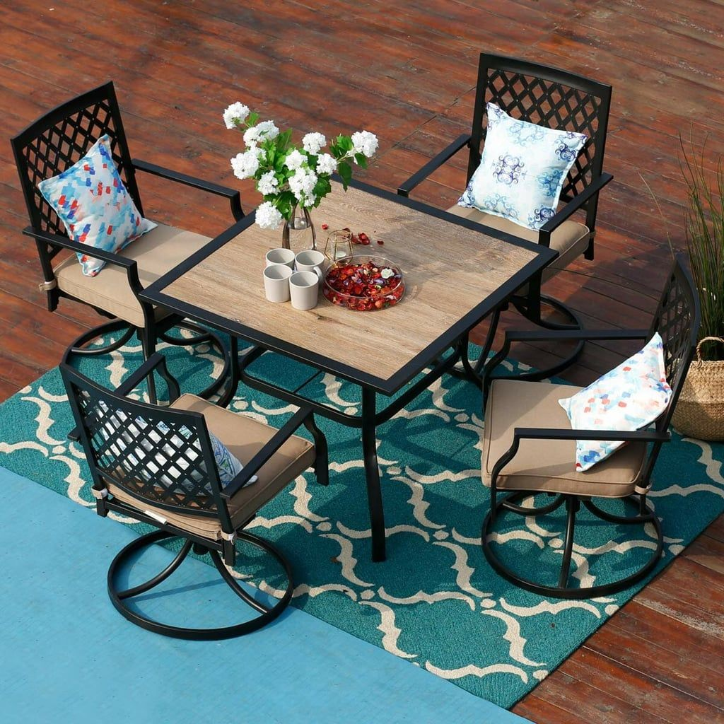 Tournelle 5 Piece Dining Set With Cushions Patio Dining Set Outdoor Swivel Chair Metal Dining Table