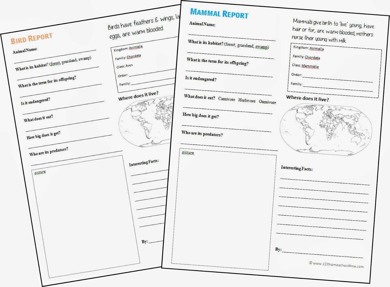 Free Animal Report Form Printable Animal Report Animal Report