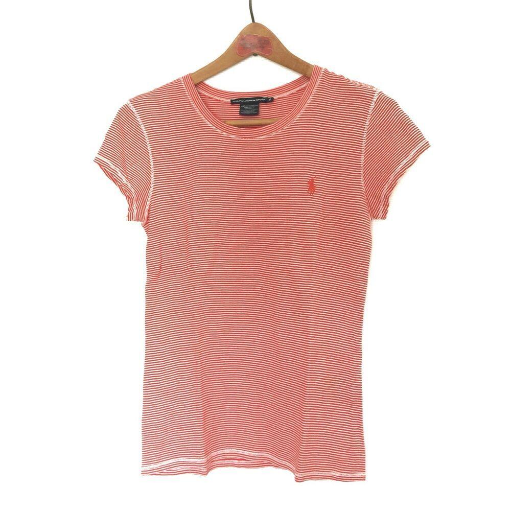 685ac8ef015c0d Polo Ralph Lauren Sport Women's Striped Red White T-Shirt Top Cotton Size  Medium | eBay