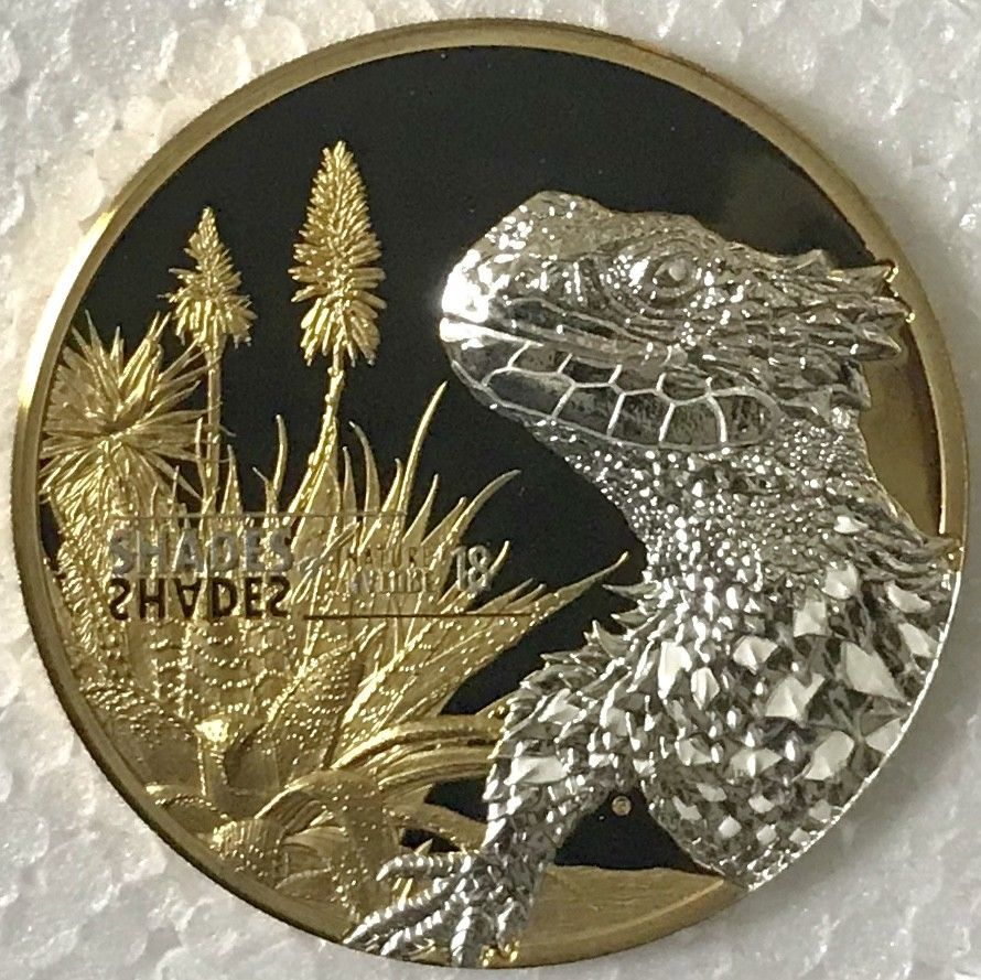 Cook 2018 Sungazer Lizard 5 Dollars Silver Coin,Proof
