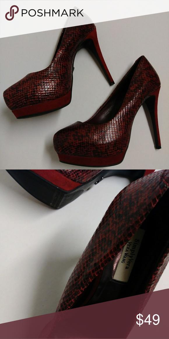 51c0b1781de Simply Vera Wang Red Snake Skin Heels Like New!! Simply Vera Wang  Red    Black  Faux Snake Skin 5