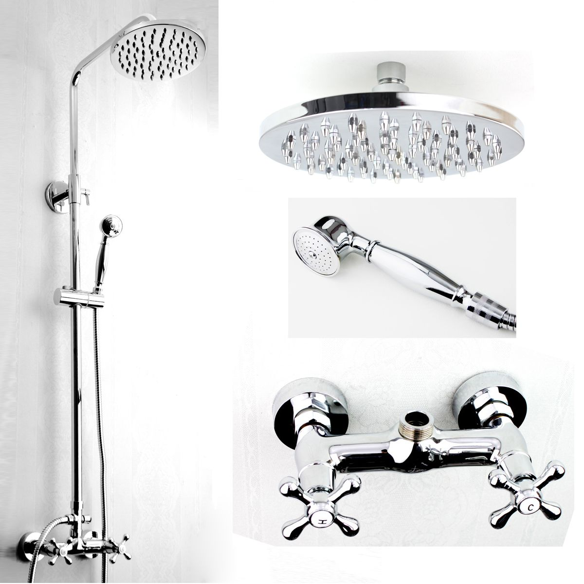 Two Handles Wall Mounted Rain Shower Faucet Mixer Valve Set YL04 ...