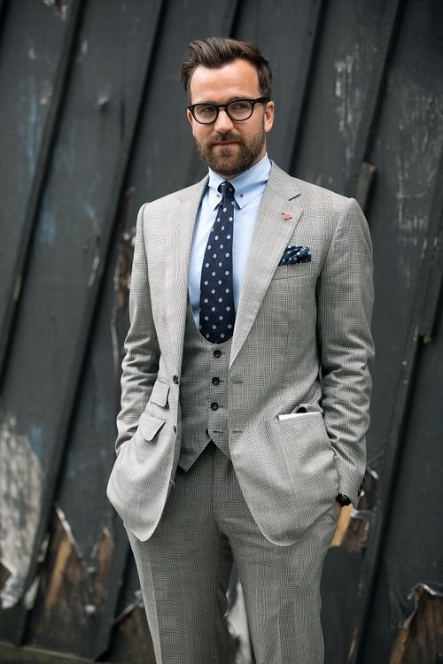 Men's Grey Three Piece Suit, Light Blue Dress Shirt, Navy Print ...