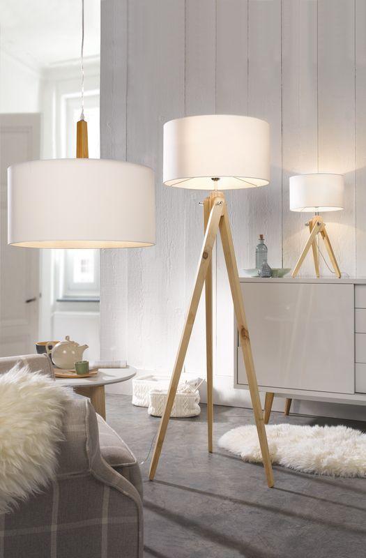 Leuchtenwelten - Tischlampe, Stehlampe, Deckenlampe - zum Beispiel Stehleuchte >>Gin<<: weißer Stoffschirm / naturfarbenes Holz - Höhe ca. 150 cm - Produktnummer: 576049-159-00-210: