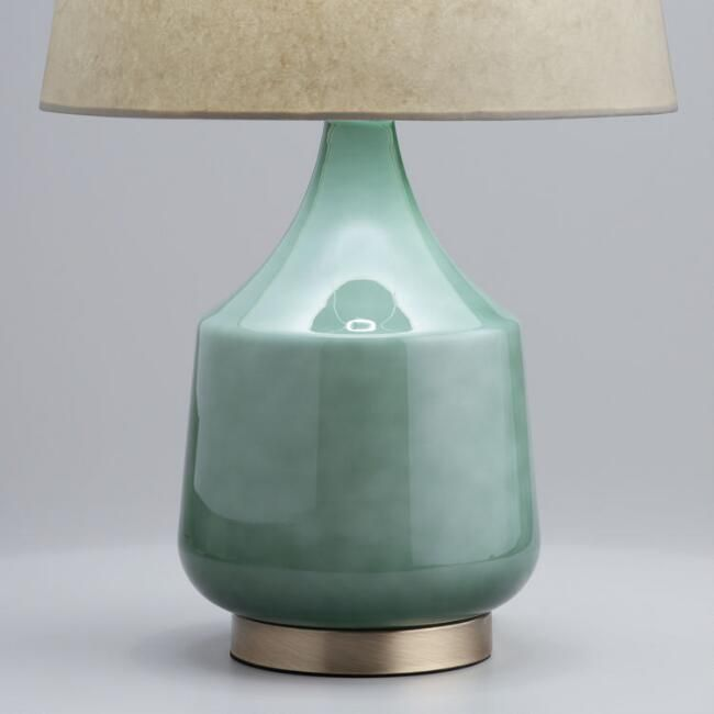 Crafted Of Glass With A Jade Green Ombre Finish That Creates Gorgeous Tonal Variations Our Exclusive Table Lamp Is Table Lamp Base Lamp Bases Glass Table Lamp