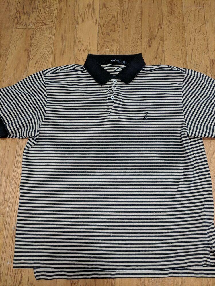 4e826312 PGA Tour Golf Polo Shirt Men's Large White tan/black Striped Embroidered  Logo #fashion