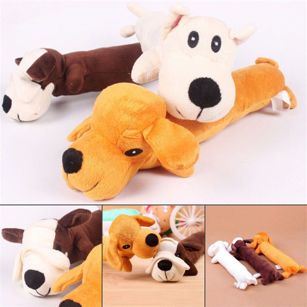 2 94 Pet Puppy Plush Sound Cartoon Dog Shape Chew Toy Squeaker