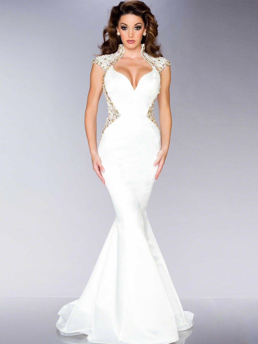Sexy Floor-Length V-Neck Trumpet Mermaid Beading White Evening Dress ... e985908b583d