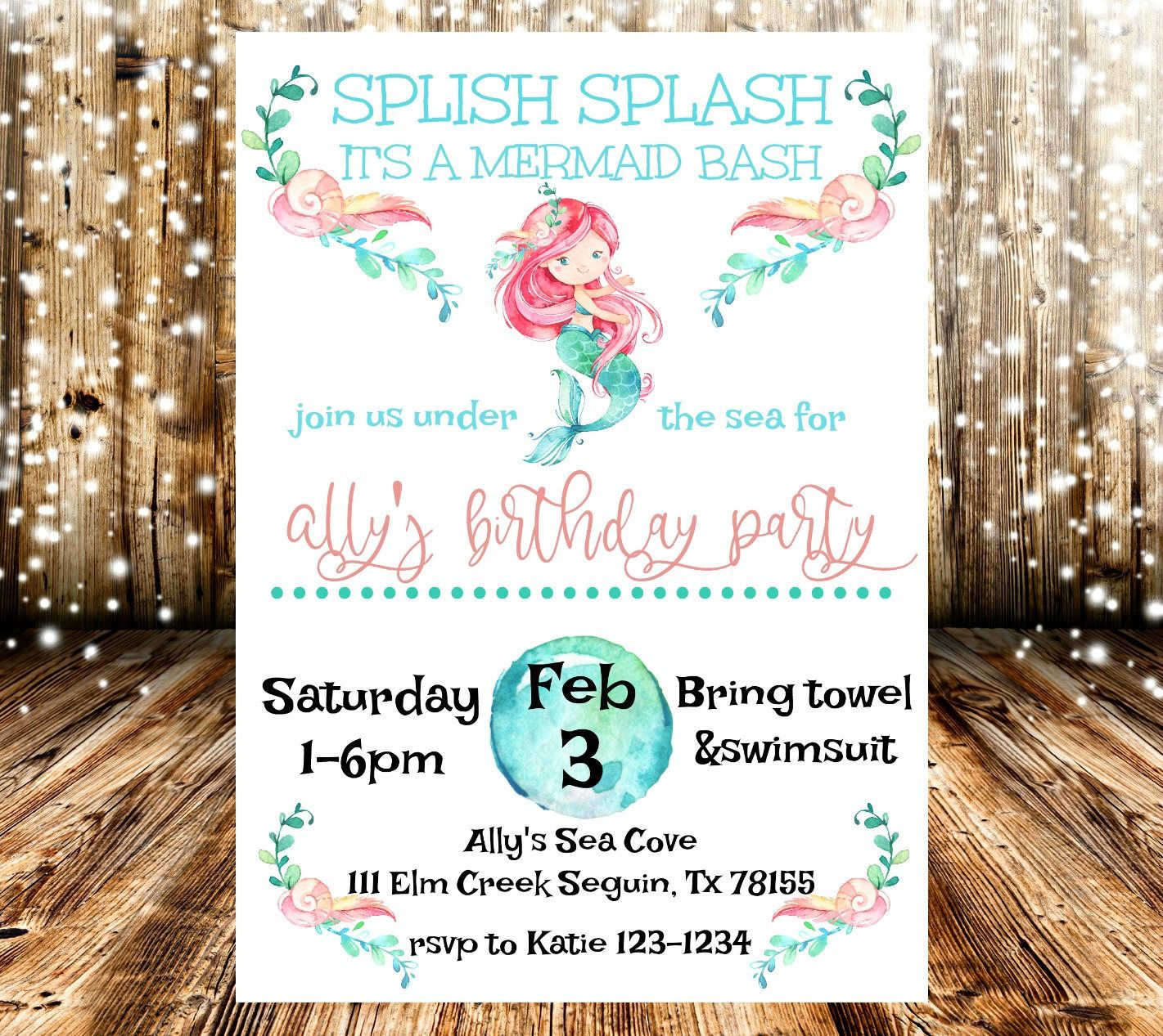 Mermaid Under The Sea Marine Ocean Birthday Party Invitation ...
