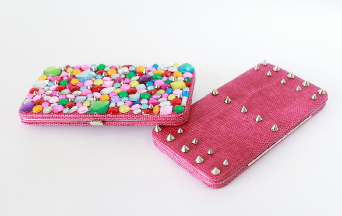 Inspired by Valentino. Made by You. Design your own studded clutch.#darbysmart
