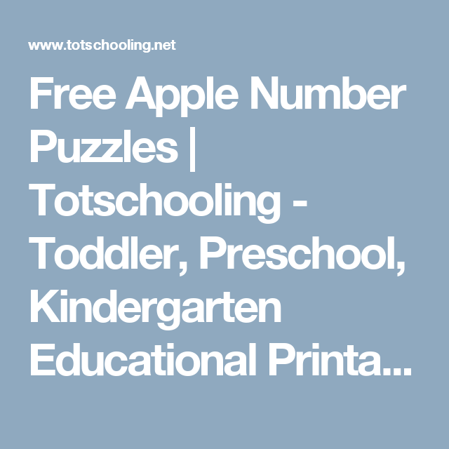Free Apple Number Puzzles | Number puzzles, Number recognition and ...