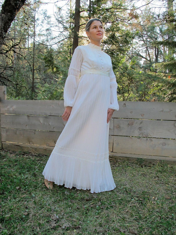 SALE Vintage Victorian White Dress, Ecru Lace Maxi Wedding