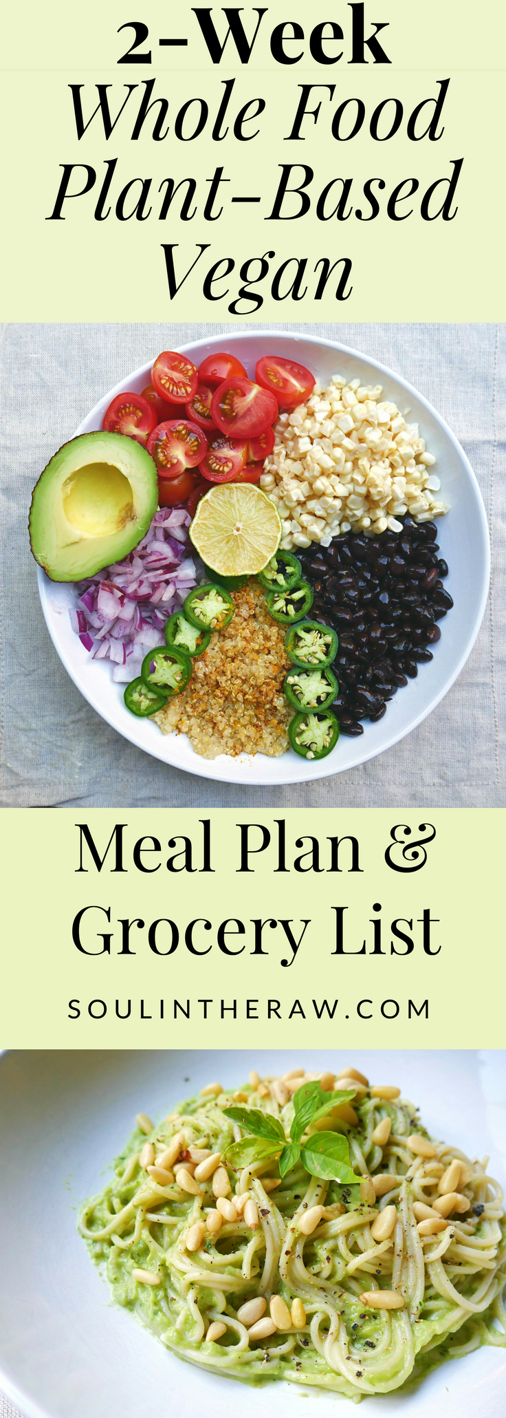 This Amazing 2 Week Vegan Meal Plan Is Packed With Delicious Whole Food Plant Based Recipes And Vegan Re Vegan Meal Plans Whole Food Recipes Vegan Grocery List