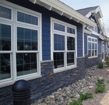Pin By April Coulter On Exteriors Blue Siding Traditional Exterior House Siding