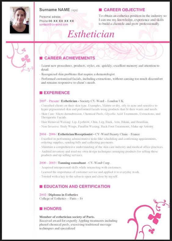 Esthetician Resume With No Experience resume template Pinterest - plastic surgery consultant sample resume