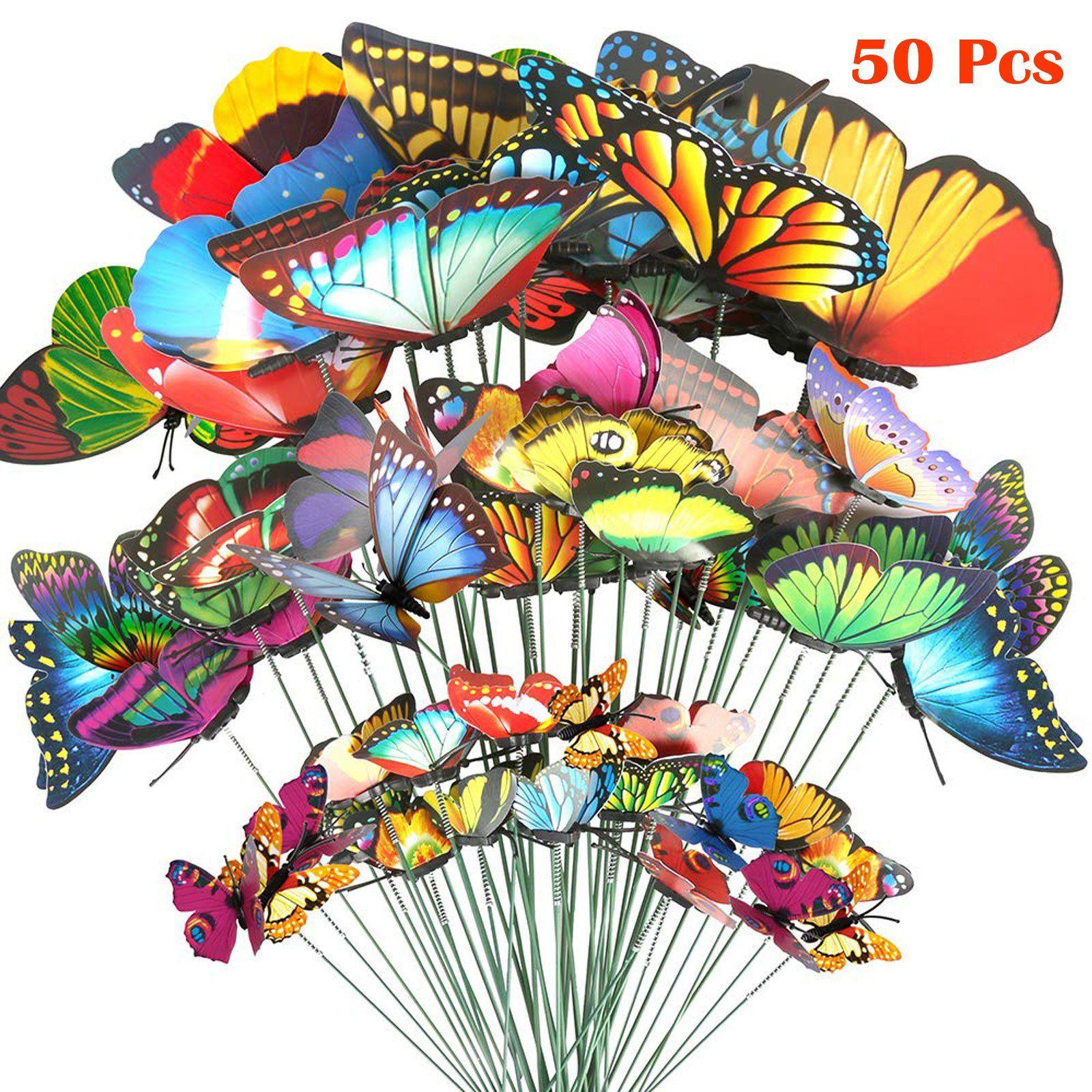 Eeekit 50pcs butterfly stakes outdoor yard planter flower