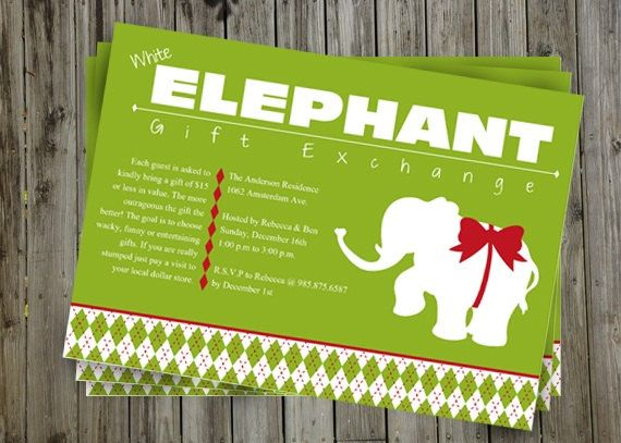 17 Best images about Holidays – White Elephant Christmas Party Invitations