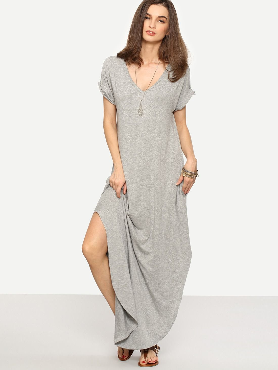 51549629619 Boho and Casual Tunic Plain Shift Straight and Slit V Neck Short Sleeve  Roll Up Sleeve