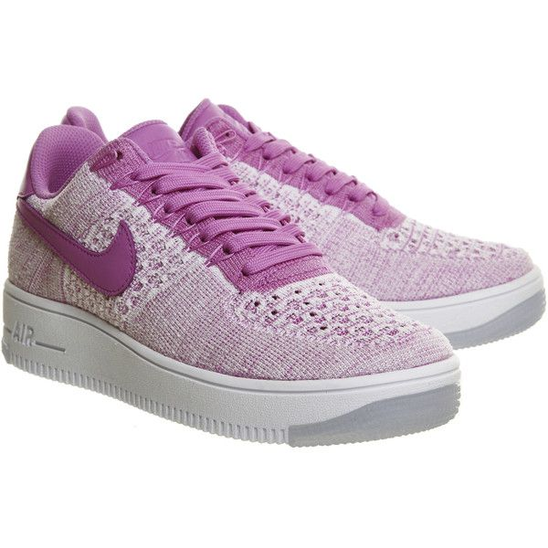 Nike Air Force 1 Low Flyknit (2 130 UAH) ❤ liked on Polyvore featuring shoes, sneakers, flyknit shoes, low shoes, low top shoes, fuschia shoes and lightweight shoes