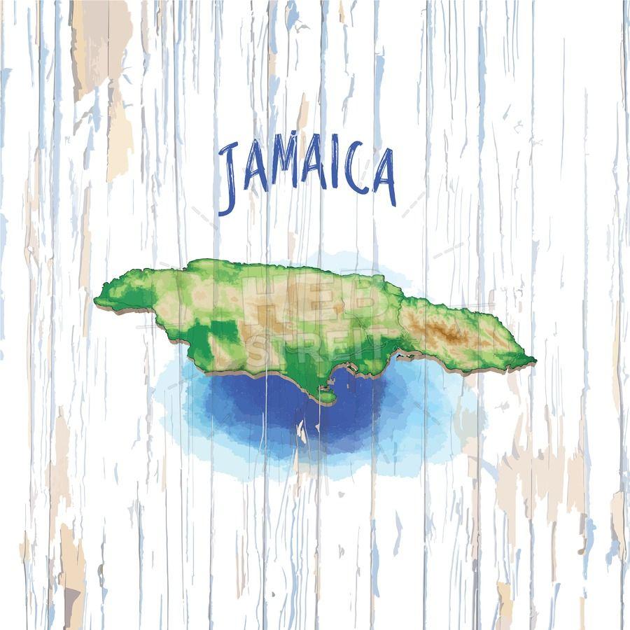 Vintage Map Of Jamaica Jamaica Map Vintage Map Jamaica