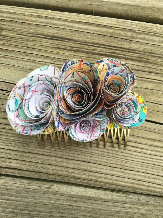Map Wedding Hair Comb  Map Wedding Hair Clip  Paper Map di glamMKE