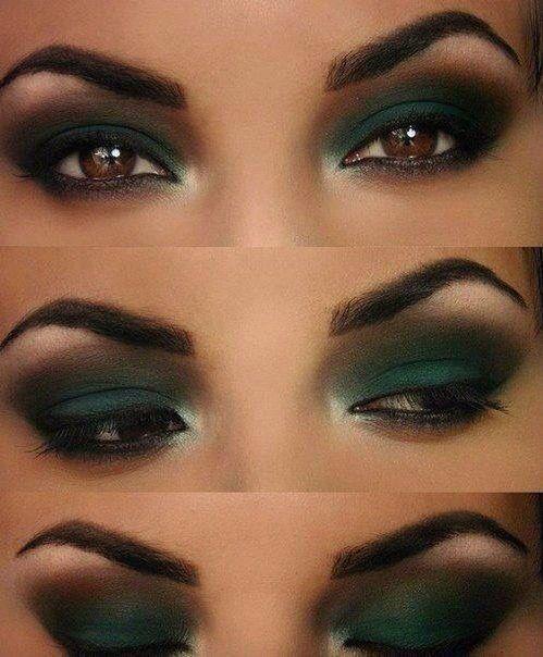 Ojos ahumados con tonos en verde makeup ideas Pinterest Ojo
