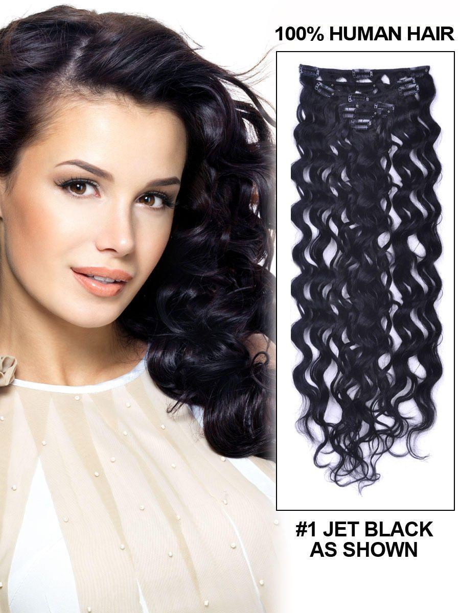 14 7 Piece Deep Curl Clip In Human Hair Extension Dark Brown Deep