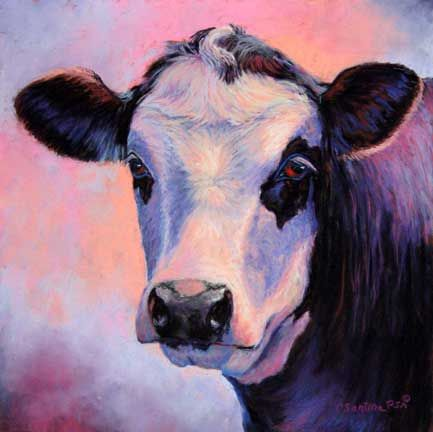 Top Shelf Pastel Black Baldie Cow Painting Click To See Larger Image Pastel Wall Art Chalk Pastel Art Art