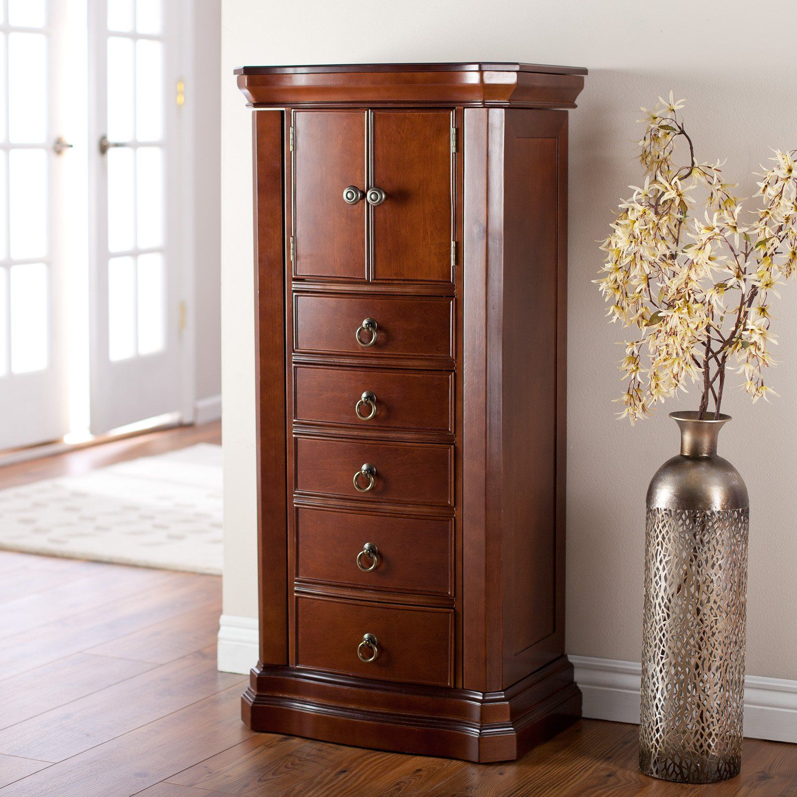 Traditional Brown over the Door Jewelry Armoire for Your Furniture