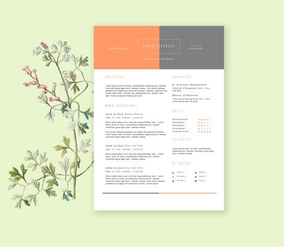 Cv Template With Cover Letterhead Resume Template In Duotone