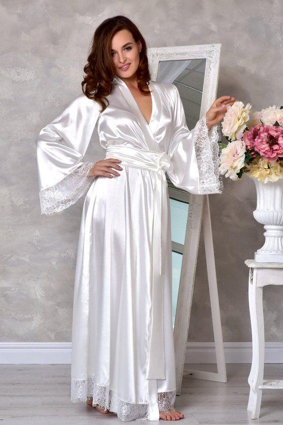 1a1c22f97a Light ivory long bridal robe Wedding kimono lace robe Bridal ...