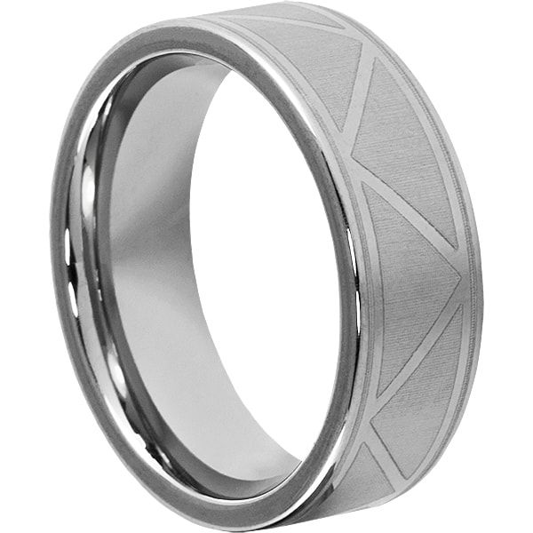 Augustas Tungsten Carbide Ring comes with polished surface and unique engraved design. Augustas comes with lifetime warranty and comfort fit.