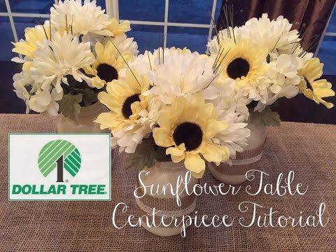 Dollar Tree Diy Sunflower Table Centerpiece Youtube Dollar