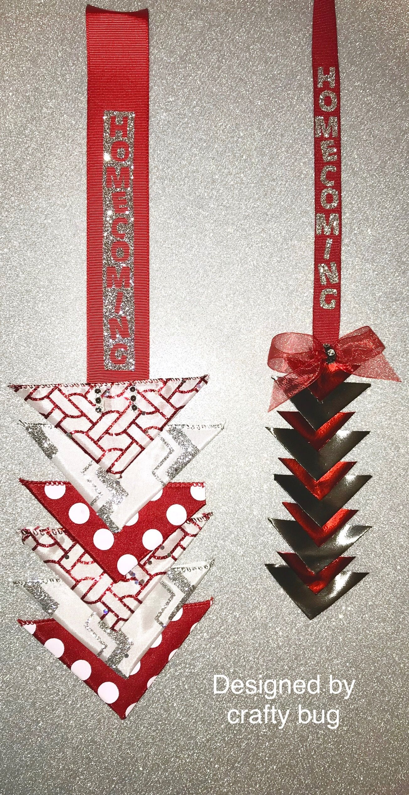 Red, white, & silver triangular homecoming mum chain  Silver glitter