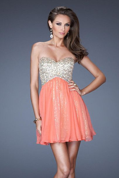 Coral Short Prom Dress Prom Pinterest Short Prom Coral And