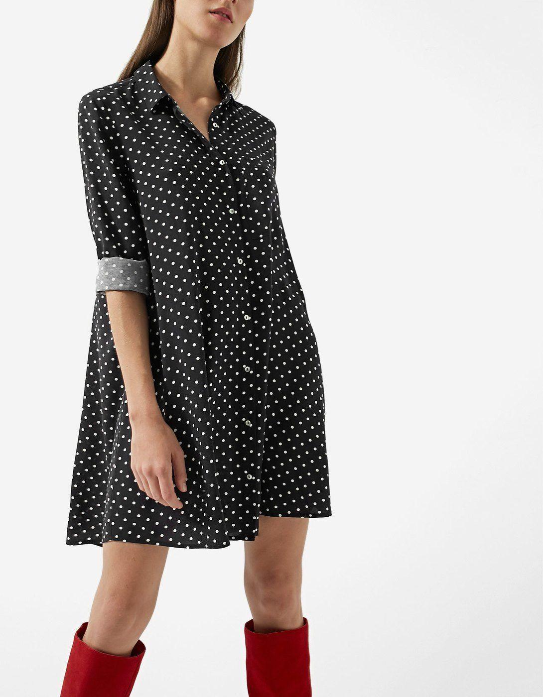 2ef87830954 Printed shirt dress with 3 4 length sleeves - Šaty
