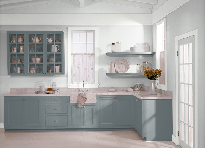 Behr paint kitchen cabinets are ocean swell and walls are Best white paint for kitchen cabinets behr